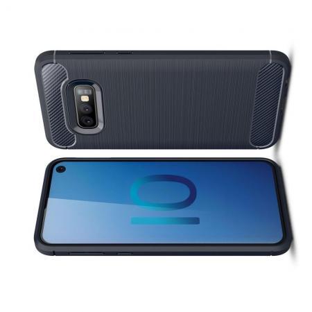 Carbon Fibre Силиконовый матовый бампер чехол для Samsung Galaxy S10e Синий