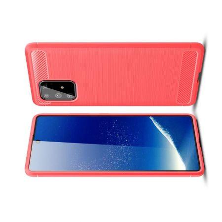 Carbon Fibre Силиконовый матовый бампер чехол для Samsung Galaxy S10 Lite Красный