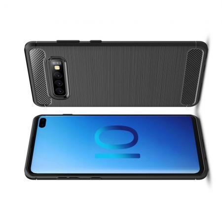 Carbon Fibre Силиконовый матовый бампер чехол для Samsung Galaxy S10 Plus Черный