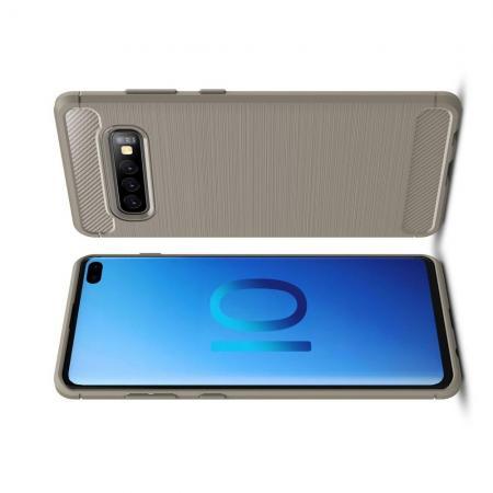 Carbon Fibre Силиконовый матовый бампер чехол для Samsung Galaxy S10 Plus Серый