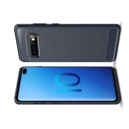 Carbon Fibre Силиконовый матовый бампер чехол для Samsung Galaxy S10 Plus Синий