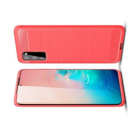 Carbon Fibre Силиконовый матовый бампер чехол для Samsung Galaxy S20 Красный