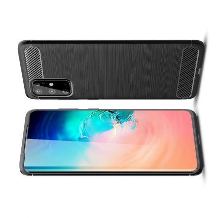 Carbon Fibre Силиконовый матовый бампер чехол для Samsung Galaxy S20 Plus Черный