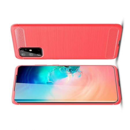 Carbon Fibre Силиконовый матовый бампер чехол для Samsung Galaxy S20 Plus Красный