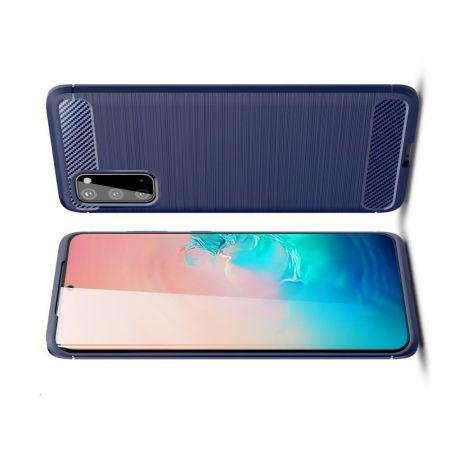 Carbon Fibre Силиконовый матовый бампер чехол для Samsung Galaxy S20 Синий
