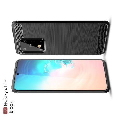 Carbon Fibre Силиконовый матовый бампер чехол для Samsung Galaxy S20 Ultra Черный