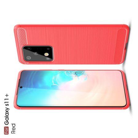 Carbon Fibre Силиконовый матовый бампер чехол для Samsung Galaxy S20 Ultra Красный