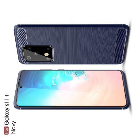 Carbon Fibre Силиконовый матовый бампер чехол для Samsung Galaxy S20 Ultra Синий