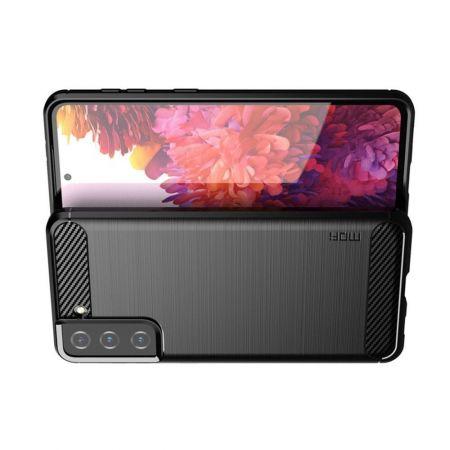 Carbon Fibre Силиконовый матовый бампер чехол для Samsung Galaxy S21 Черный