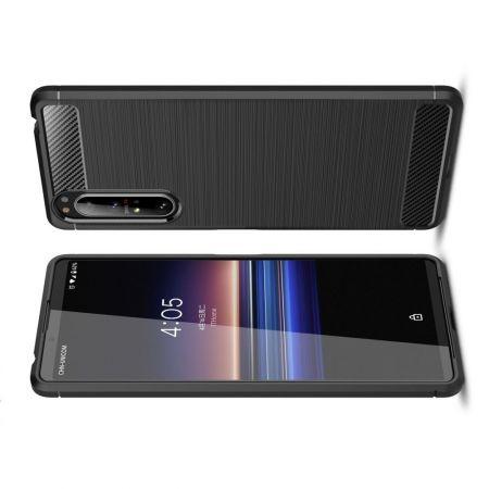 Carbon Fibre Силиконовый матовый бампер чехол для Sony Xperia 1 II Черный