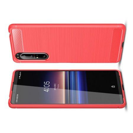 Carbon Fibre Силиконовый матовый бампер чехол для Sony Xperia 1 II Красный