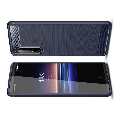 Carbon Fibre Силиконовый матовый бампер чехол для Sony Xperia 1 II Синий