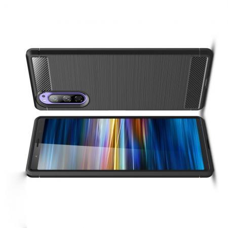 Carbon Fibre Силиконовый матовый бампер чехол для Sony Xperia 2 Черный