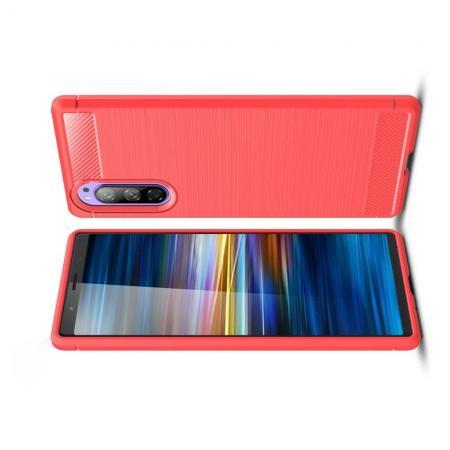 Carbon Fibre Силиконовый матовый бампер чехол для Sony Xperia 2 Коралловый