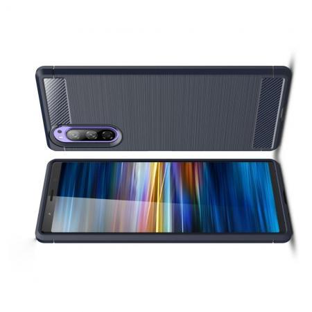 Carbon Fibre Силиконовый матовый бампер чехол для Sony Xperia 2 Синий