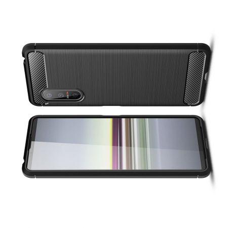 Carbon Fibre Силиконовый матовый бампер чехол для Sony Xperia 5 II Черный