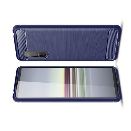 Carbon Fibre Силиконовый матовый бампер чехол для Sony Xperia 5 II Синий