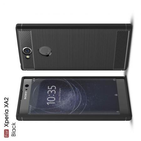 Carbon Fibre Силиконовый матовый бампер чехол для Sony Xperia XA2 Черный