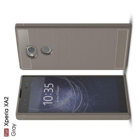 Carbon Fibre Силиконовый матовый бампер чехол для Sony Xperia XA2 Серый