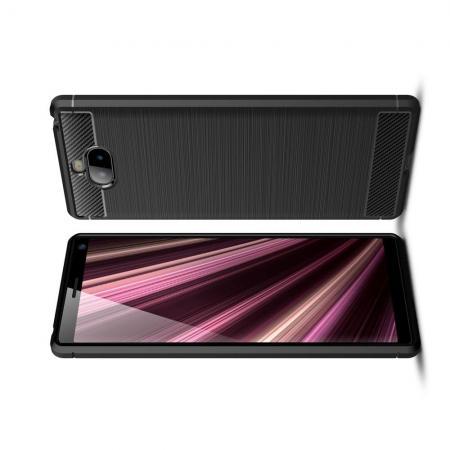 Carbon Fibre Силиконовый матовый бампер чехол для Sony Xperia 10 Черный