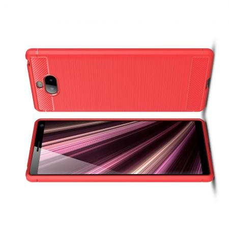 Carbon Fibre Силиконовый матовый бампер чехол для Sony Xperia 10 Коралловый