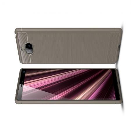 Carbon Fibre Силиконовый матовый бампер чехол для Sony Xperia 10 Plus Серый