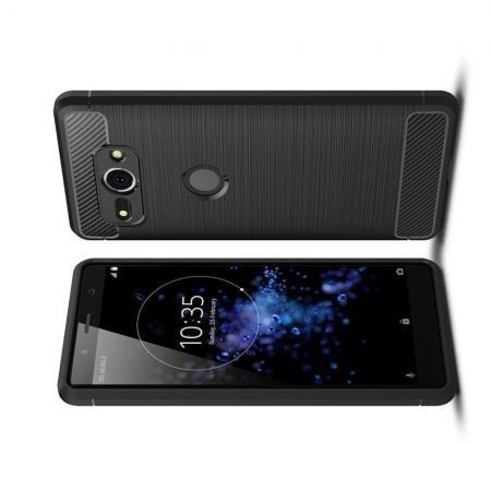 Carbon Fibre Силиконовый матовый бампер чехол для Sony Xperia XZ2 Compact Черный
