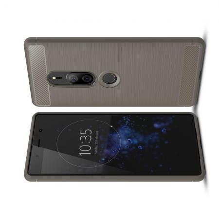 Carbon Fibre Силиконовый матовый бампер чехол для Sony Xperia XZ2 Premium Серый