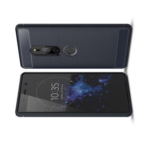 Carbon Fibre Силиконовый матовый бампер чехол для Sony Xperia XZ2 Premium Синий