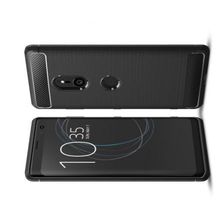 Carbon Fibre Силиконовый матовый бампер чехол для Sony Xperia XZ3 Черный