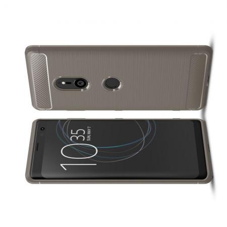 Carbon Fibre Силиконовый матовый бампер чехол для Sony Xperia XZ3 Серый