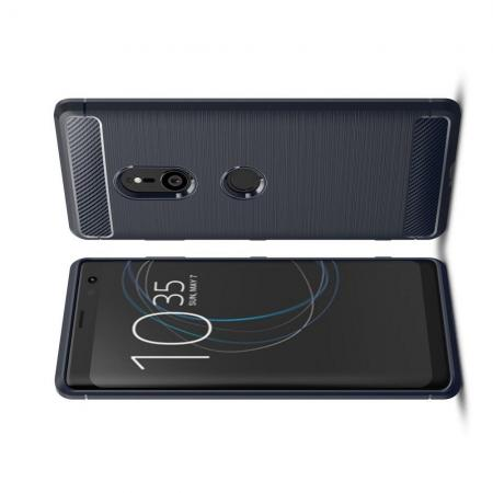 Carbon Fibre Силиконовый матовый бампер чехол для Sony Xperia XZ3 Синий
