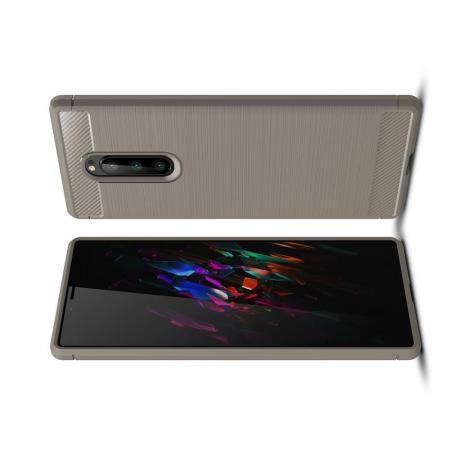 Carbon Fibre Силиконовый матовый бампер чехол для Sony Xperia 1 Серый