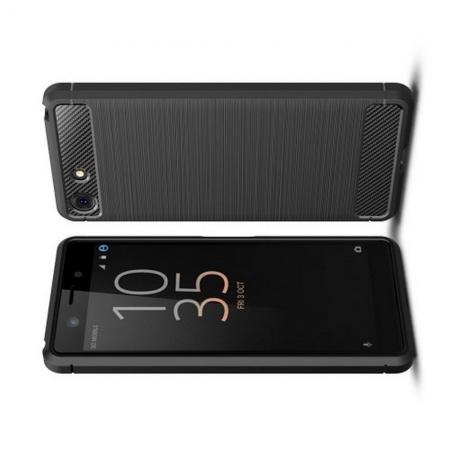 Carbon Fibre Силиконовый матовый бампер чехол для Sony Xperia XZ4 Compact Черный