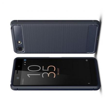 Carbon Fibre Силиконовый матовый бампер чехол для Sony Xperia XZ4 Compact Синий