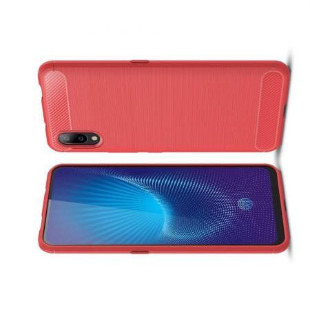 Carbon Fibre Силиконовый матовый бампер чехол для Vivo NEX S Красный