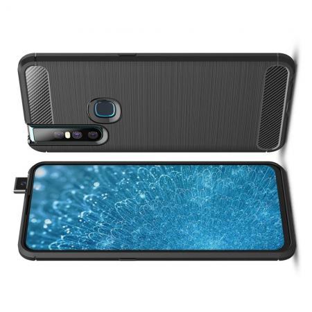 Carbon Fibre Силиконовый матовый бампер чехол для Vivo V15 Черный
