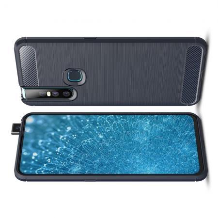 Carbon Fibre Силиконовый матовый бампер чехол для Vivo V15 Синий