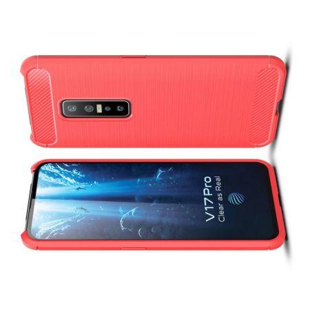 Carbon Fibre Силиконовый матовый бампер чехол для vivo V17 Pro Красный