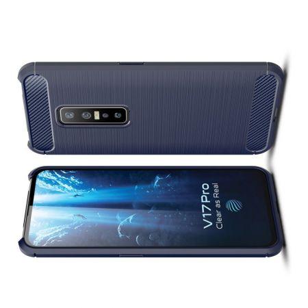 Carbon Fibre Силиконовый матовый бампер чехол для vivo V17 Pro Синий