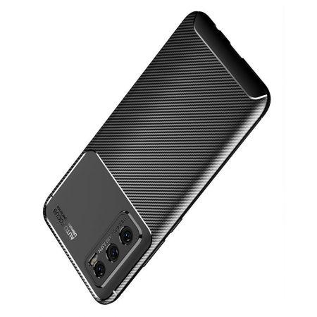 Carbon Fibre Силиконовый матовый бампер чехол для vivo V20 SE Черный