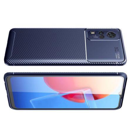 Carbon Fibre Силиконовый матовый бампер чехол для Vivo Y31 / Vivo Y31 Синий