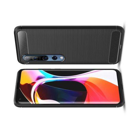 Carbon Fibre Силиконовый матовый бампер чехол для Xiaomi Mi 10 / Mi 10 Pro Черный