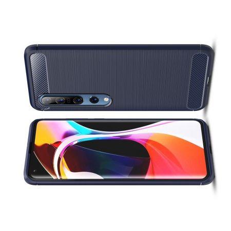 Carbon Fibre Силиконовый матовый бампер чехол для Xiaomi Mi 10 / Mi 10 Pro Синий