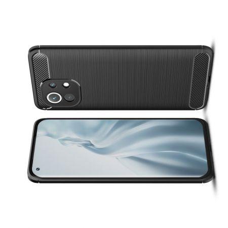 Carbon Fibre Силиконовый матовый бампер чехол для Xiaomi Mi 11 Черный