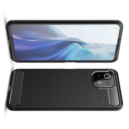 Carbon Fibre Силиконовый матовый бампер чехол для Xiaomi Mi 11 Lite Черный