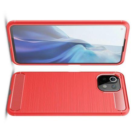 Carbon Fibre Силиконовый матовый бампер чехол для Xiaomi Mi 11 Lite Красный