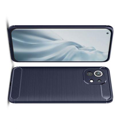 Carbon Fibre Силиконовый матовый бампер чехол для Xiaomi Mi 11 Синий