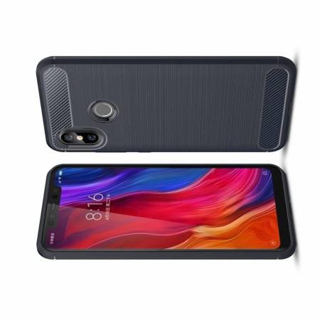 Carbon Fibre Силиконовый матовый бампер чехол для Xiaomi Mi 8 Синий