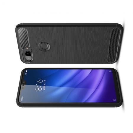 Carbon Fibre Силиконовый матовый бампер чехол для Xiaomi Mi 8 Lite Черный